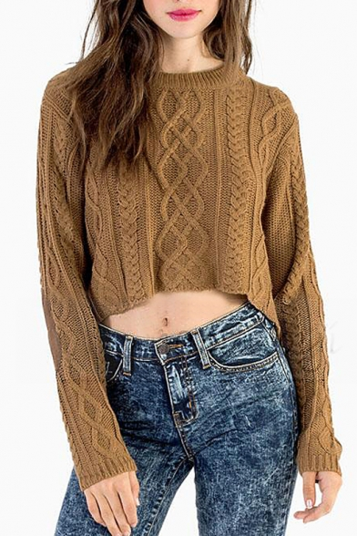 f2d4307f6dd Cable Knit High Low Hem Cropped Sweater with Round Neck