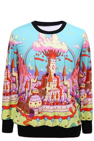 Cartoon Castle Print Round Neck Long Sleeve Sweatshirt