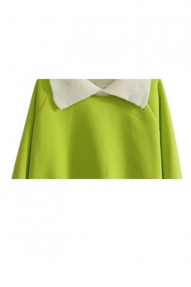 Contrast Collar Long Sleeve Pullover Sweatshirt
