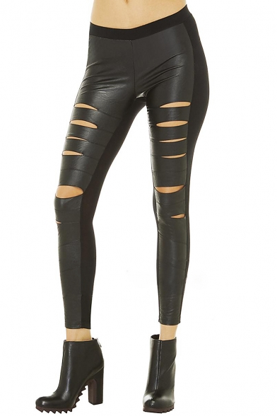Punk Sexy Elastic Waist Skinny PU Patchwork Pencil Leggings with Cutout Detail