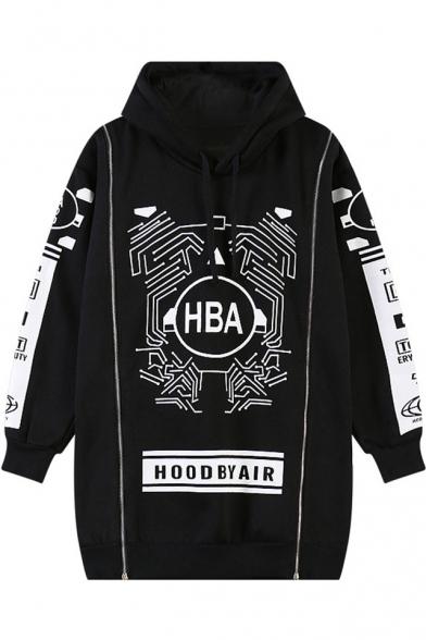 Black Letter Geometric Print Zipper Tunic Hoodie