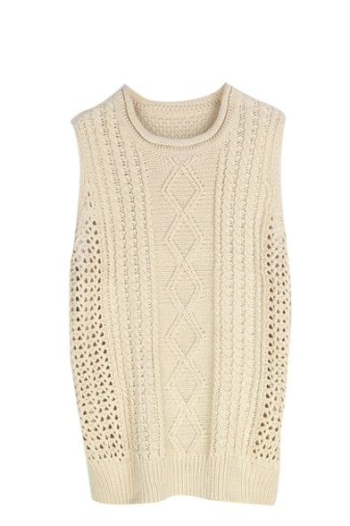 Plain Round Neck Sleeveless Cable Knitted Tunic Sweater