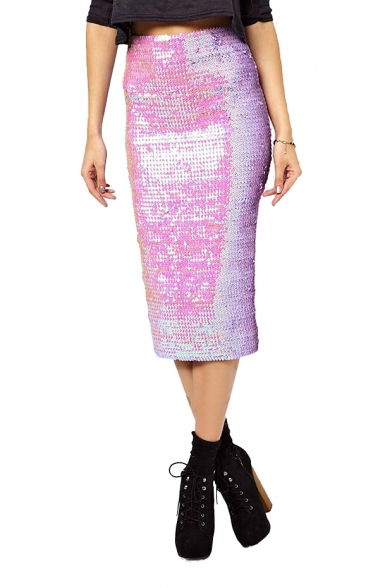 tea length pencil skirt with gradient glitter sequins