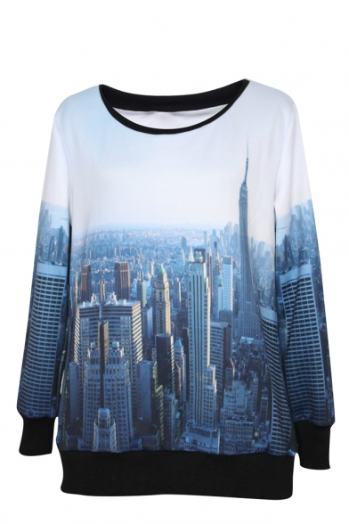 Ombre City Pattern Round Neck Long Sleeve Sweatshirt