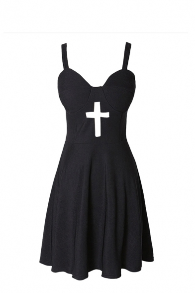 Plain Cross Cutout Fitted Zipper Bustier Dress