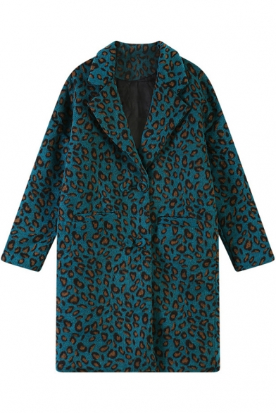 Notched Lapel Leopard Pattern Woollen Coat with Double Pockets Front