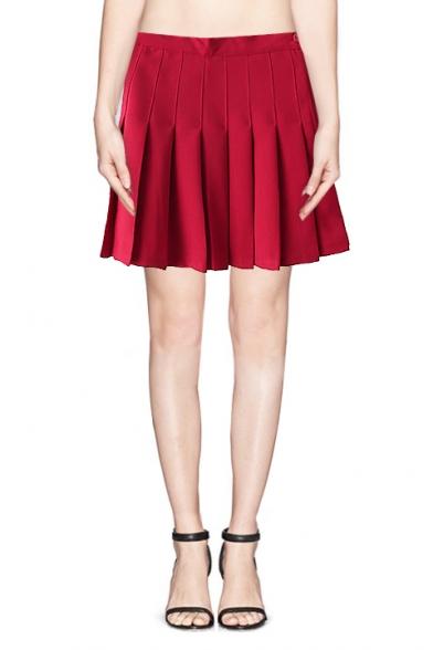 Plain High Waist Pleated Skirt With Side Zipper Beautifulhalo Com