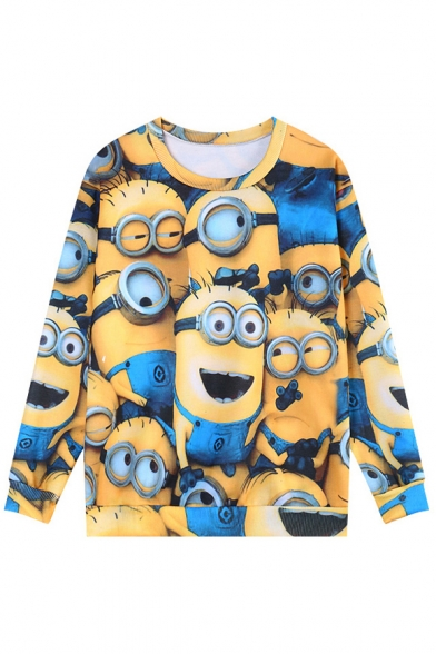 Cartoon Minions Print Long Sleeve Loose Sweatshirt
