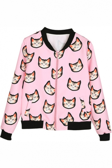 Cat Print Cropped Stand Collar Coat with Zipper Fly