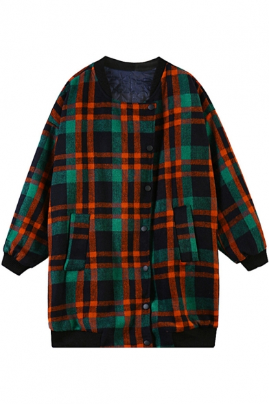 Green Plaid Pattern Boyfriend Coat with Double Pockets Front