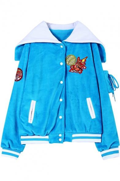 Loose Cartoon Applique Plush Varsity Jacket with Navy Collar