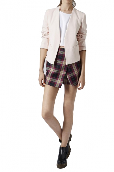 Plain V-Neck Long Sleeve Blazer with Asymmetrical Hem