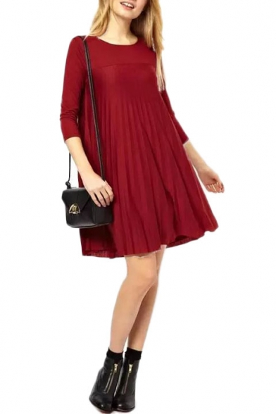 Pleated Keyhole Back Long Sleeve Babydoll Dress