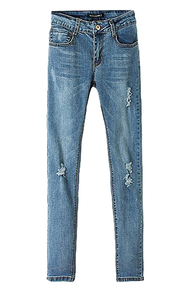 Skinny Regular Rise Light Wash Distressed Jean with Zipper Fly
