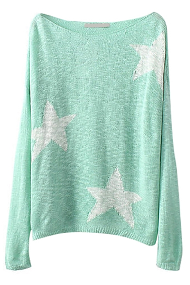 Candy Color Star Pattern Long Sleeve Knitted Sweater with Scoop Neckline