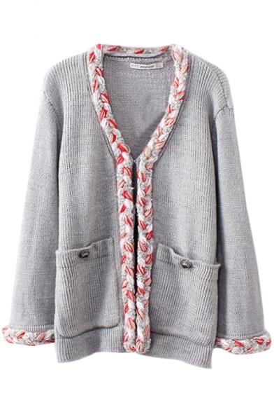 Gray Crochet Trim V-Neck Pockets Cardigan in Loose Fit