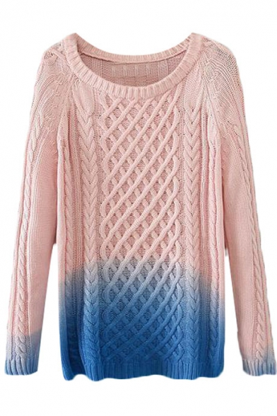 Pearl Pink and Blue Ombre Color Block Twist Cable Knit Long Sleeve ...
