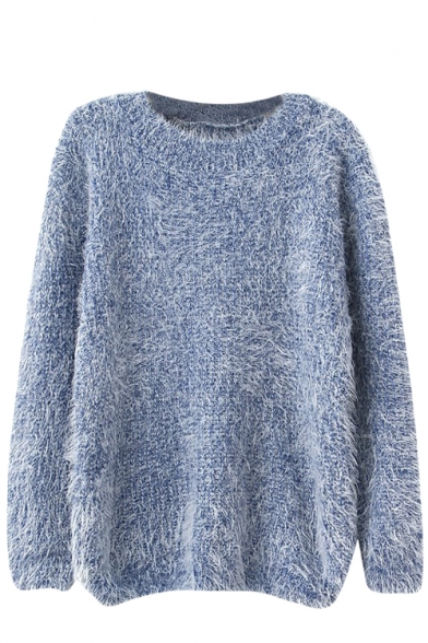 Plain Long Sleeve Mohair Knitting-needle Sweater with Round Neckline