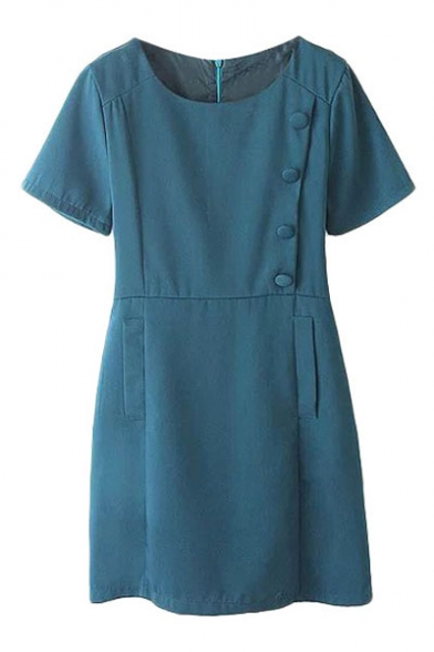 Zipper Back Round Neck Printed Short Sleeve Dress