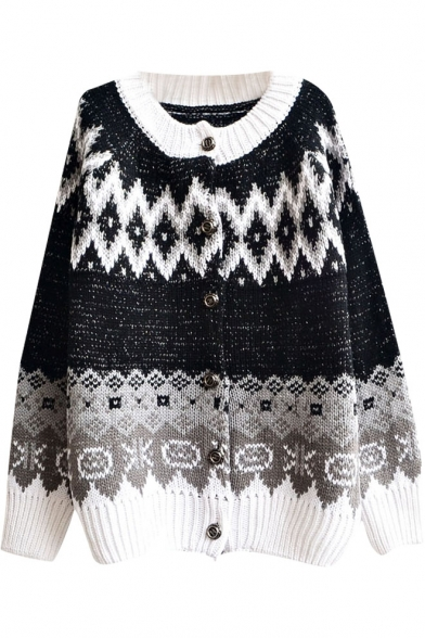 Shiny Thread Insert Snowflake Pattern Cardigan with Round Neck
