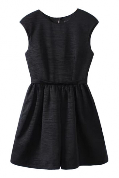 Striped Sleeveless Dress with Embellished Crystal Back and Gathered Waist
