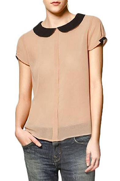 91e5620a1ae06 Contrast Peter Pan Collar Short Sleeve Shirt with Button Back -  Beautifulhalo.com