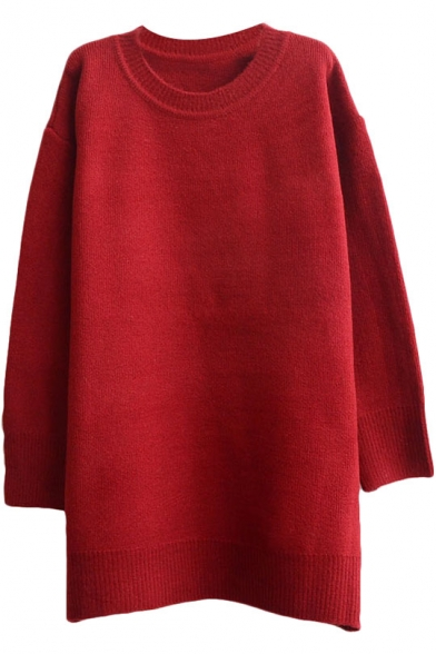 Plain Soft Round Neck Loose Long Sleeve Tunic Sweater with Round ...