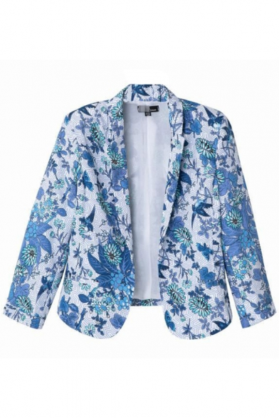 Blue Bird Print 3/4 Sleeve Blazer with Lapel