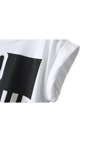 fda5959f ... Color Block Letter Print Round Neck Sleeveless Cropped T-Shirt ...