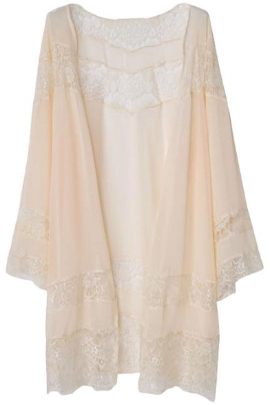 Plain Simple Collarless Open Front Loose Kimono with Lace Insert