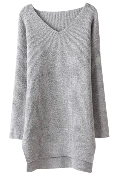 Plain V-Neck Asymmetric High Low Hem Tunic Sweater with Long ...
