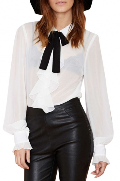 c24b5430ed2f6 Sheer Puff Sleeve Shirt Embellished with Bow-Tie and Ruffle -  Beautifulhalo.com