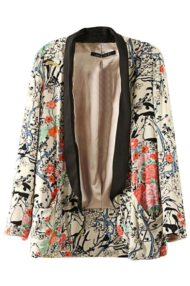Vintage Flower Print and Contrast Placket Slim Blazer with Lapel