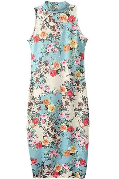 Sleeveless Stand Collar Sheath Floral Print Dress