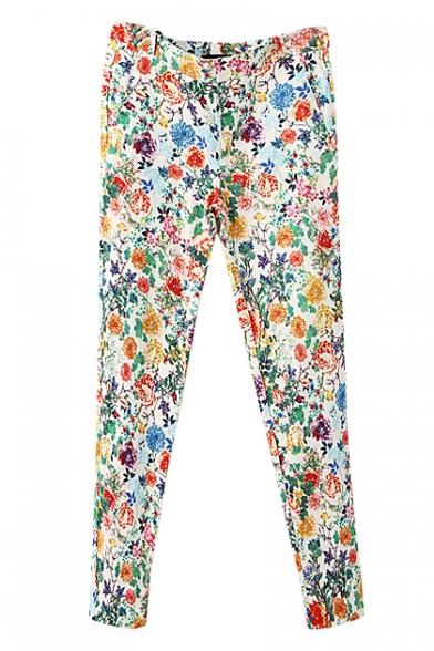 Vintage Colorful Flower Print Ankle Length Pencil Pants