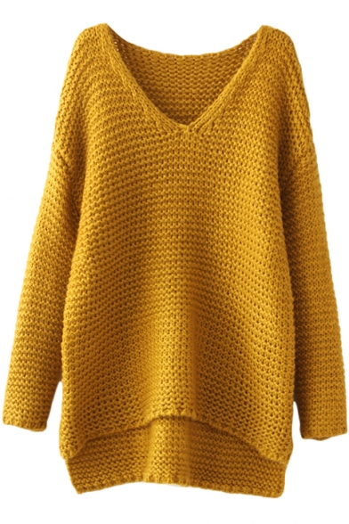 Chunky Knit Plain Long Sleeve V Neck Sweater With High Low
