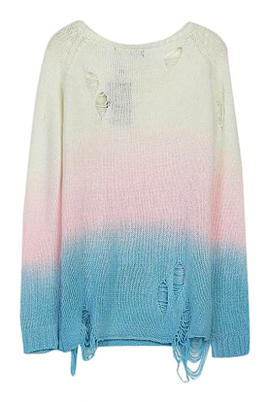Off-duty Ombre Shredded Long Sleeve Sweater with Round Neckline