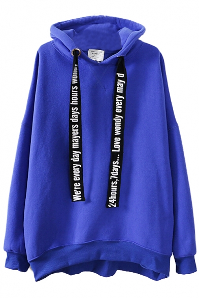 Plain Long Sleeve Midi Hoodie with Letter Print Drawstring