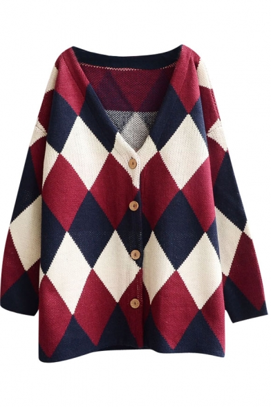 649a42486 V-Neck Button Fly Classic Argyle Pattern Oversized Cardigan ...