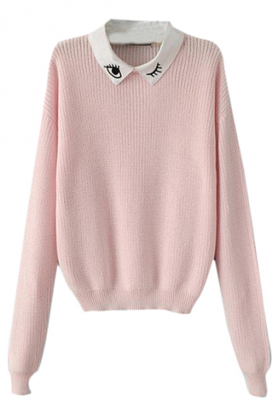 Detachable Eye Pattern Collar Long Sleeve Sweater - Beautifulhalo.com