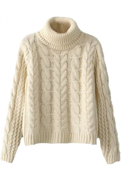 High Neck Plain Chunky Cable Knitted Cropped Sweater ...