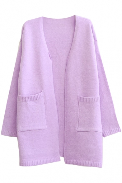 Fresh Plain Long Sleeve Fluffy Cardigan in Loose Fit
