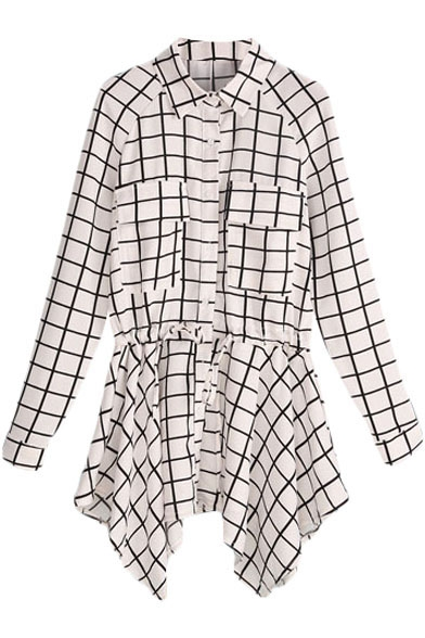 Gingham Pattern Long Sleeve Midi Shirt with Handkerchief Hem