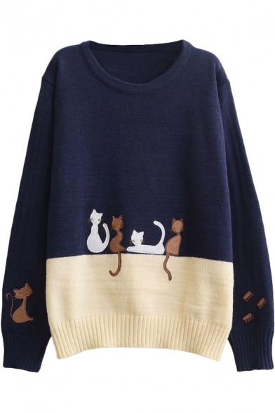 Round Preppy Embroidered Look Cat Sleeve Long Neck Block Sweater Color xvv74wqO