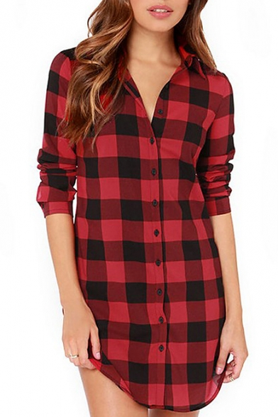 d5cb6466bb23 Red-Black Plaid Print Tunic Fitted Long Sleeve Dress - Beautifulhalo.com