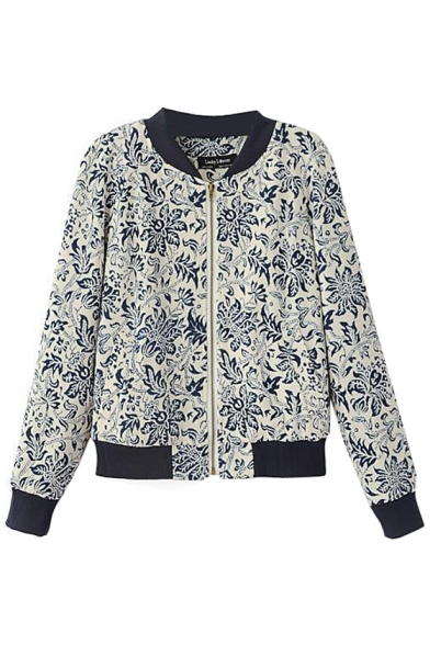 Stand Collar Color Block Blue and White Porcelain Print Coat