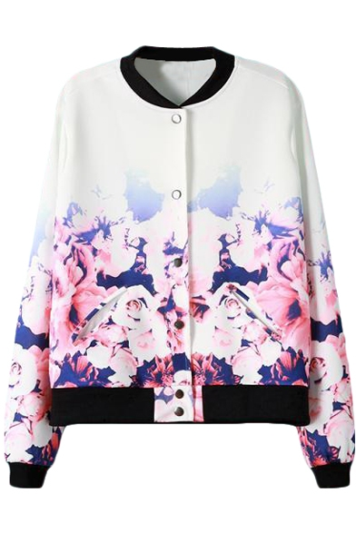 White Background Ombre Flower Print Zipper Fly Baseball Jacket ...