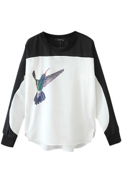Color Block Flying Bird Print High Low Hem Round Neck Blouse