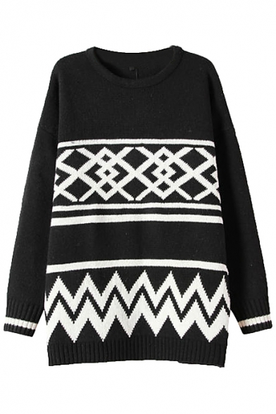 Geometric Pattern Long Sleeve Longline Sweater with Round Neckline
