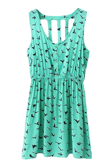 Green Fly Bird Print Strappy Back Gathered Waist Sun Dress